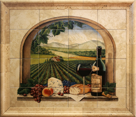 Ceramic tile murals for kitchen or barbeque backsplash and for Clay tile mural