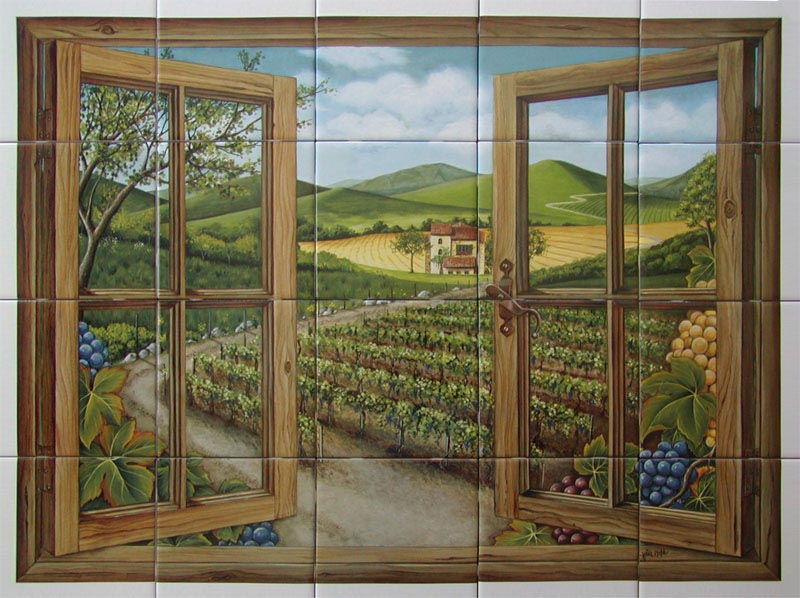 tuscany window mural - Kitchen Murals Backsplash